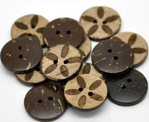 8 botones coco nuez Coconut patrón 18 mm flor marrón 2 hoyos coser mercería *
