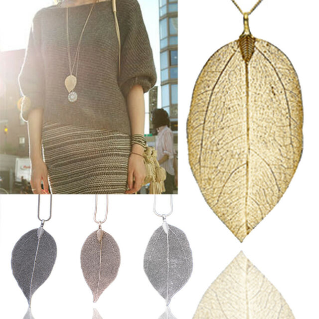 Unique Women Fashion Jewelry Leaves Leaf Sweater Pendant Long Chain Necklace
