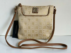 NEW-TOMMY-HILFIGER-GOLD-YELLOW-BROWN-CROSSBODY-MESSENGER-SLING-BAG-65-SALE