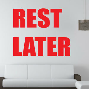 Detalles De Descanso Más Tarde Adhesivo Pared Deporte Motivacional Frase Gimnasio Fitness