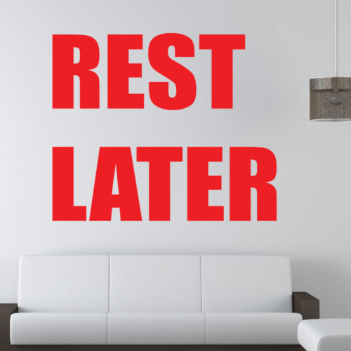 Reste plus tard Wall Sticker citation de motivation Sport Gym Fitness decal w153