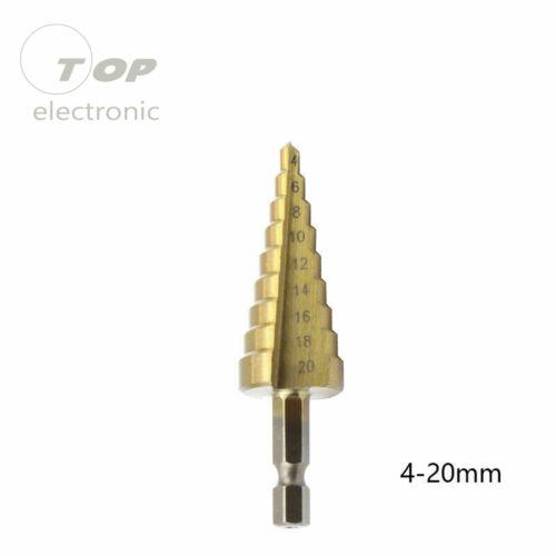 Hex Titanium Step Cone Drill Bit Hole Cutter 4-12//20//32mm For Sheet Metal Tool