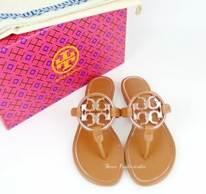 NEW-Tory-Burch-Miller-Metal-Logo-Thong-Leather-Sandals-Tan-Rose-Gold-US-9-5