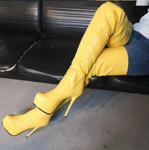 Spitz Pumps Platform Pu Stilettos Stiefel Reißverschluß Schenkelhohe Damenschuhe 5LcARj43q