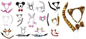 Animal-bandeau-serre-tete-deguisement-oreilles-queue-noeud-papillon-adulte-set