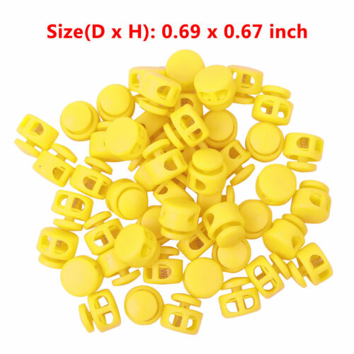 50 Toggle Double Hole Spring Drawstring Rope Cord Lock Clip End Stopper Buttons