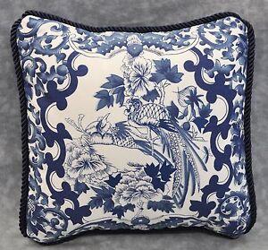 Porcelain Blue Decorative Pillows : Pillow made w Ralph Lauren Porcelain Navy Blue & White Fabric 9