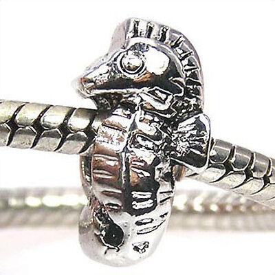 Wholesale Lot 20pcs Sea Horse Silver European Bracelet Spacer Charm Beads D380