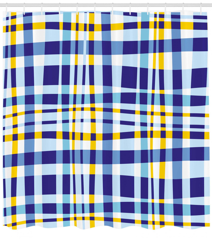 Gelb And Blau Shower Curtain Scottish Tartan Print For Bathroom 84 Extralong 48fc87