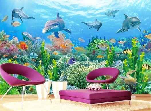 3D Viele Korallen, Delfine 28 28 28 Fototapeten Wandbild Fototapete BildTapete Familie 5853a1