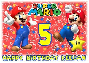 Mario A4 Birthday Cake Topper