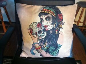 Gypsy-Sugar-Skull-Day-of-the-Dead-Flowers-Linen-Square-Pillow-Cushion-Cover