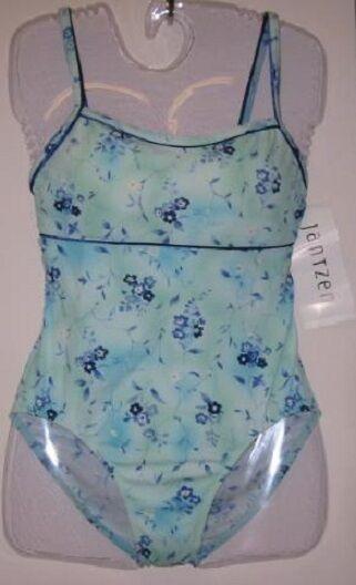 Jantzen One Piece Swim Suit bluee Floral Print Misses Size Size Size 10 Retail  78 New NWT 84fec2