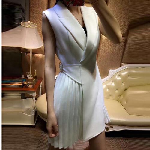 2018 spring new women pleated lotus leaf hem sleeveless waist suit vest dress