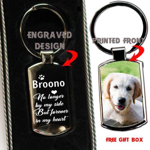 Engraved Keepsakes Gift Personalised Dog Memorial Metal Keyring Photo Printed