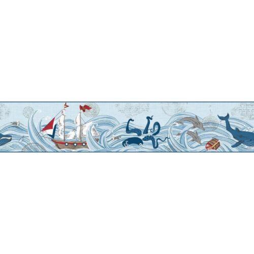 Waverly Kids Ships Ahoy Ocean Pirates on Sure Strip Wallpaper Border WK6913BD