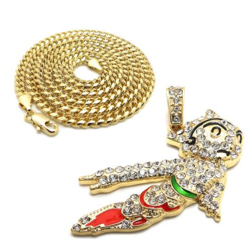 "Corde Chaîne Hip Hop Collier Iced Gold PT Astro Boy Pendentif /& 24/"" Boîte cubain"