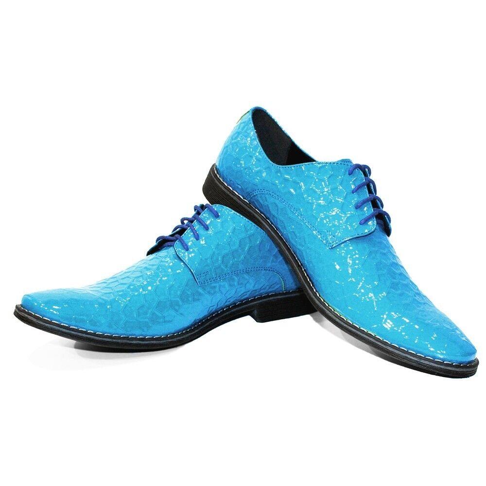 Modello azultiko - Handmade Coloridos Cuero Italiano Oxford Zapatos Vestido Azul