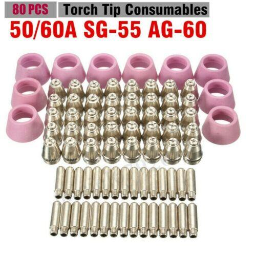 80pcs AG60 Plasma Cutter SG55 Plasma 60A Plasma Torch Tips Electrode Consumable