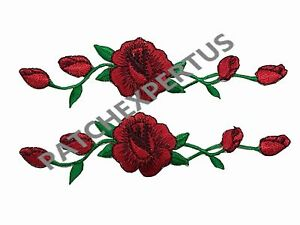 3965R-Lot-2-Pcs-Red-Rose-red-rose-Flower-Embroidery-Applique-Patch