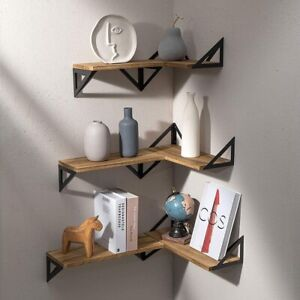 3pcs Floating Shelves Wall Mounted Rustic Wood Wall Shelving Unit Aesthetic Deco