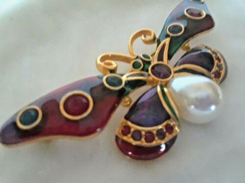 Joan Rivers Jeweled Rainbow Butterfly Pin Brooch