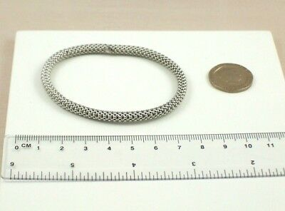 925 Sterling Silver 6mm Polished and Enameled BELIEVE Stretchable Bracelet