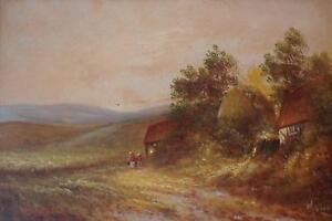 Victorian School Figures Before Farmstead Oil Painting c1900 Indistly Hammond?