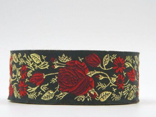 10 M galon tissés//WebBand roses lianes noir//rouge//or 33 mm de large 1,39 €//m