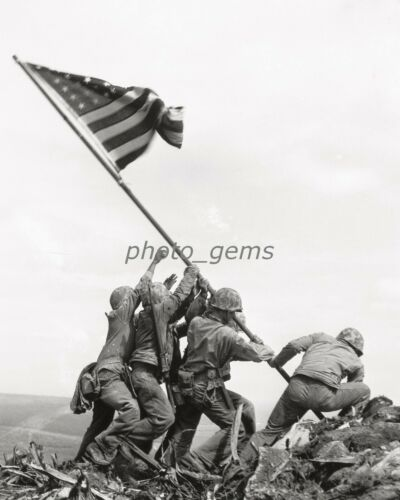 1945 Raising The Flag Iwo Jima by Rosenthal High Quality 8x10 Archival Photo