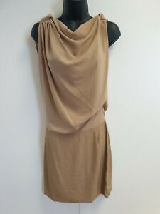 F5-WOMENS-MAJE-BROWN-SLEEVELESS-LIGHTWEIGHT-EVENING-FORMAL-DRESS-UK-6-8-FR-1