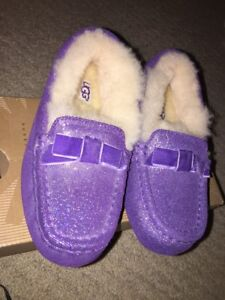 BNIB-Ugg-Slippers-Annmarie-Purple-Glitter-Kids-Girls-Sz-11-12-NEW