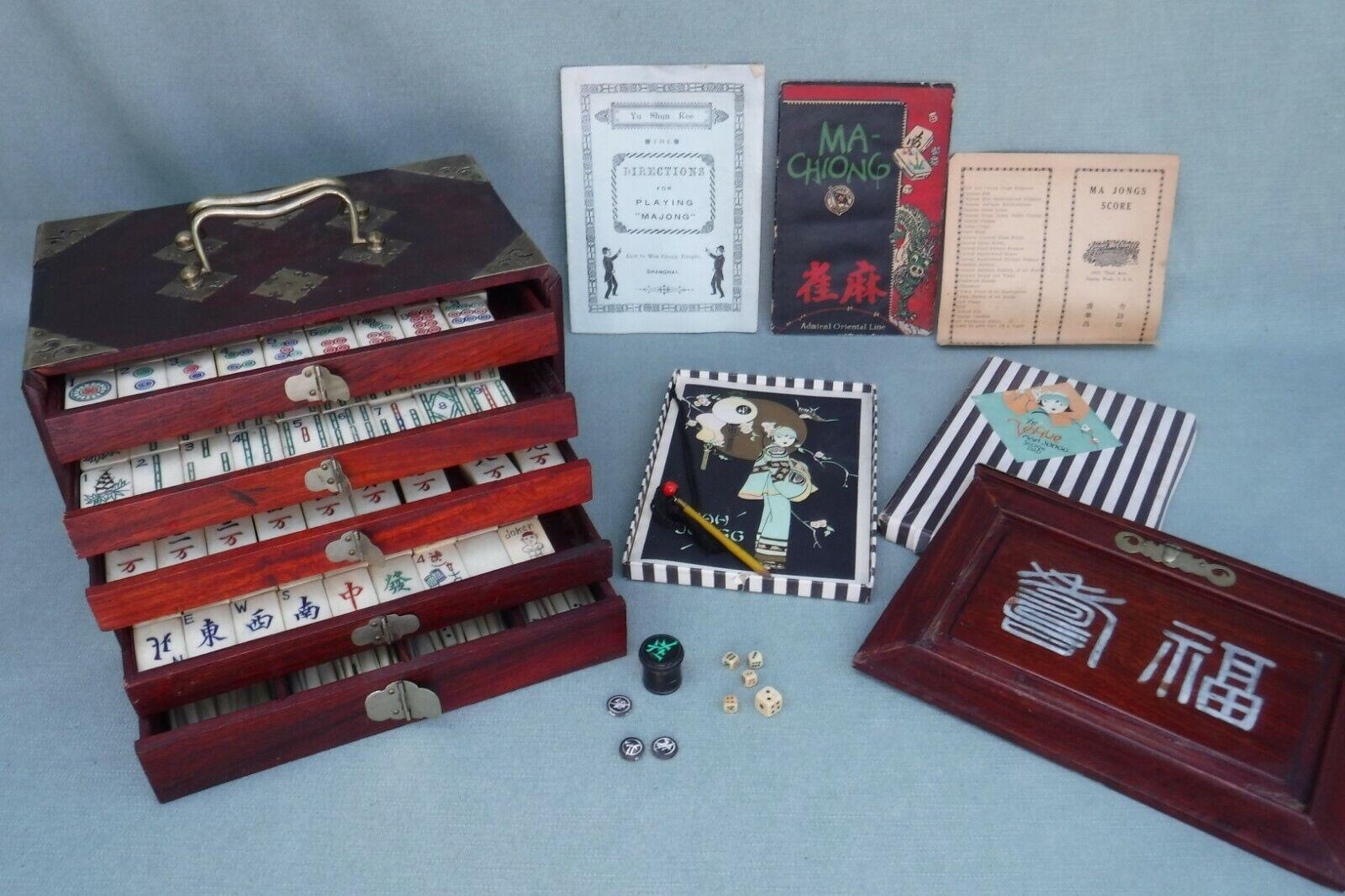 Antiguo Juego De Mahjong mosaicos de bambú 144 Bone & en caso