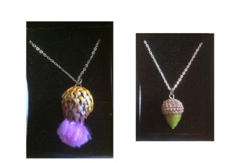 NECKLACES WITH ACORN or THISTLE PENDANT ON SILVER CHAIN