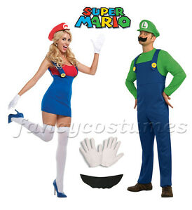 Image is loading 2PCs-Couple-Mens-Super-Mario-Luigi-and-Womens-  sc 1 st  eBay & 2PCs Couple Mens Super Mario Luigi and Womens Mario Plumber Fancy ...