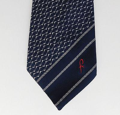 Coraggioso M&s Vintage 1970s Cravatta Fr Iniziali Logo Emblema Wide Strisce St Michael Blu Navy- Garanzia Al 100%