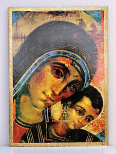 Quadro-su-tavola-MADONNA-con-BAMBINO-cm-48x66-Mary-and-baby-Jesus