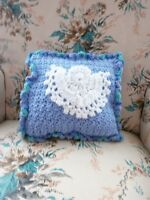 Angel Tooth Fairy Pillow - Hand Crochet In Blue