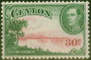 Ceylon-1945-30c-Carmine-amp-Green-SG393b-V-F-MNH