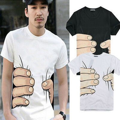 Funny 3D Cool Mens Round Neck Short Sleeve Big Hand Printed Casual T-shirt M-XXL