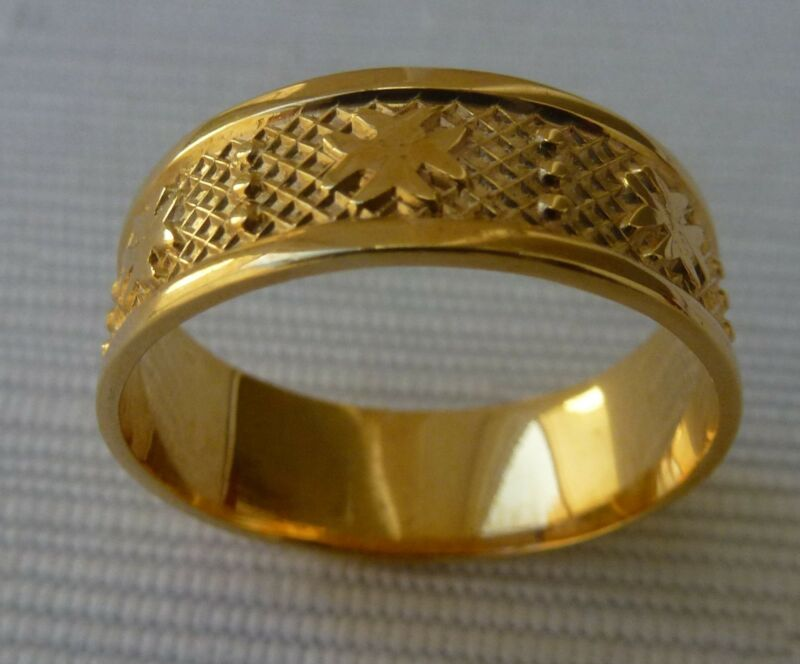 Original9ct 9k 375 Yellow Gold Maltese Cross Solid Band Ring All Sizes Available