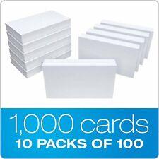 White Blank Index Flash Cards Unruled Plain Presentation Commercial 10pk Of 100