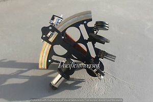 "8"" Marine Navigation Heavy Brass Nautical Sextant Black Powder Coating Gift ."