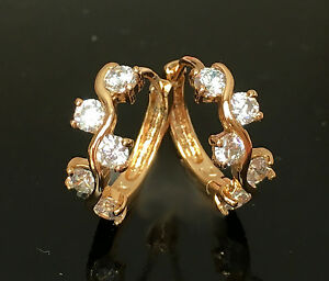 Luxus-Ohrringe-Creolen-Cubik-Zirkonia-750er-Gold-18-Karat-vergoldet