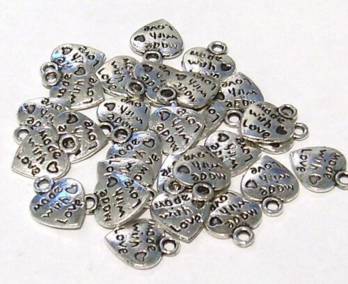 15 small heart charms /' made with love /' Pendants Jewellery Crafts