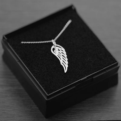 """Genuine 925 Sterling Silver Wing Feather Necklace with Gift Box 18"""" Inches 45cm"""