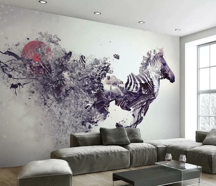 3D Gouache Zebra N550 Wallpaper Wall Mural Removable Self-adhesive Sticker Amy