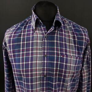Tommy-Hilfiger-Mens-2-Ply-Shirt-MEDIUM-Long-Sleeve-Blue-Regular-Fit-Check-Cotton