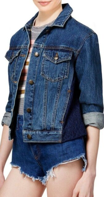 People Lace Paneled Dark Denim Jacket Women S Size Small S Ob466877
