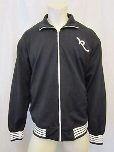 auth big block letters rocawear full zip track jacket sz xl black